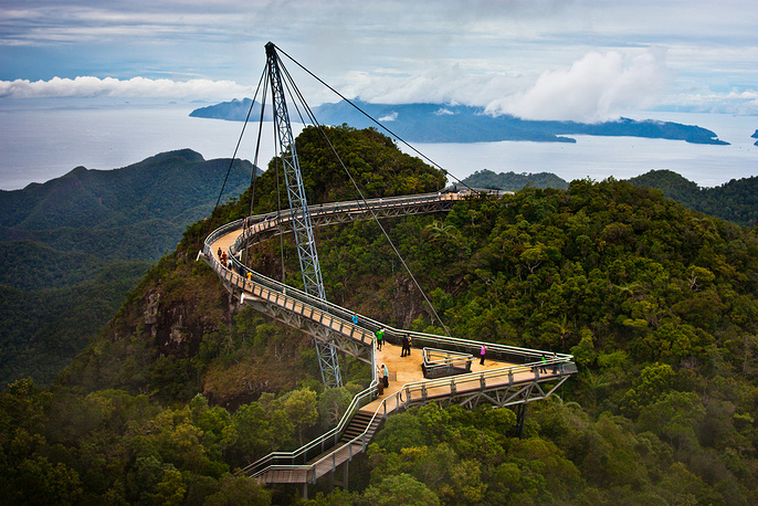 Langkawi Sky Bridge is a 125-metre curved pedestrian cable-stayed bridge in Malaysia