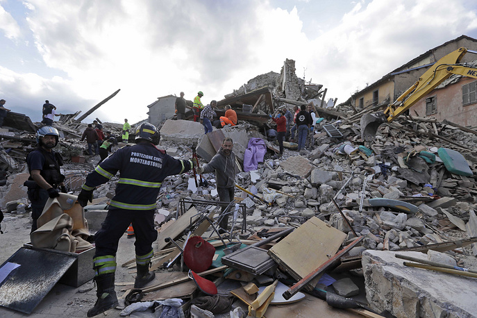 Aftermath of the earthquake in Amatrice