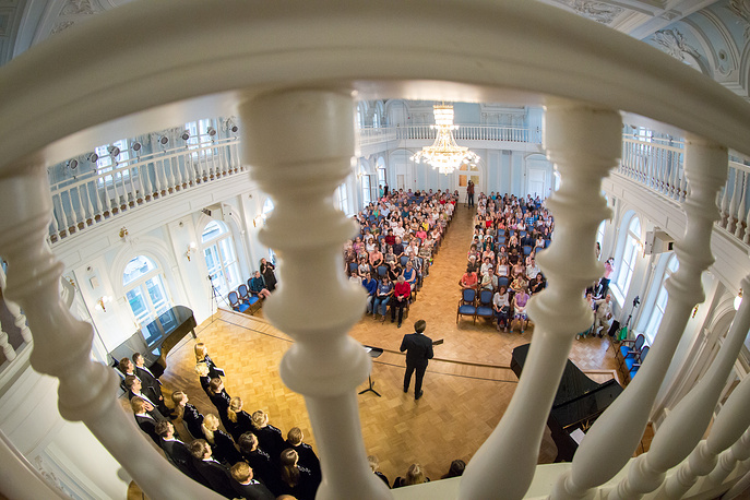At its opening, Russian composer Pyotr Tchaikovsky was appointed professor of theory and harmony, a post he held until approximately 1878. Since 1940, the conservatory has borne Tchaikovsky's name. Photo: The Chamber Choir of Moscow Conservatory perform in the Rakhmaninov Hall