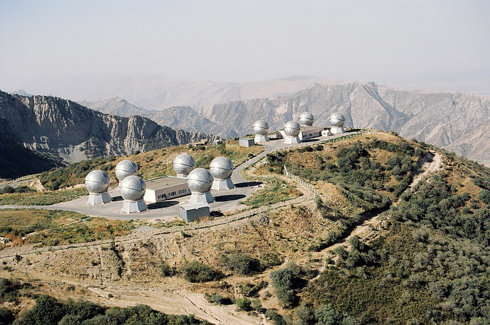 The Okno (Window) space surveillance station, operated by the Russian Space Force in Tajikistan. The facility consists of a number of telescopes in domes and is designed for the detection and analysis of space objects