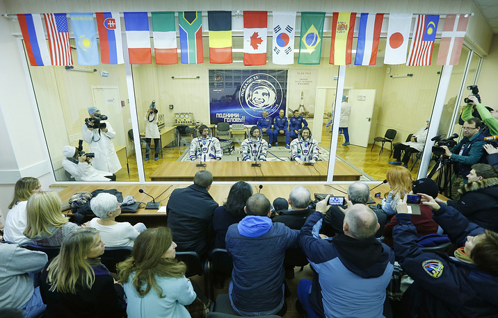 Expedition 49/50 main crew members at a press conference ahead of the launch