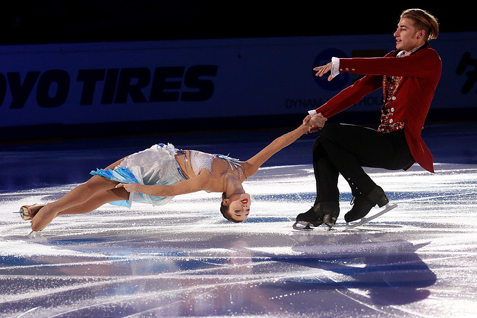 Bronze medallists in pair skating Kristina Astakhova and Alexei Rogonov of Russia