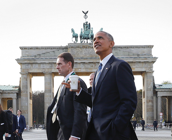 President Barack Obama after visiting US Embassy in Berlin, November 17