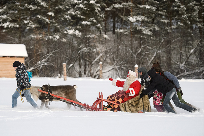 Joulupukki, the Finnish Santa Claus, in Park Skazov, Russian fairy-tale and traditional Urals folk culture park, November 14