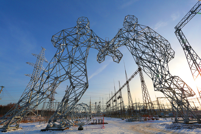 Electricity pylons shaped like footballers near the town of Dobryanka ahead of the 2018 FIFA World Cup, Perm region, Russia, November 20