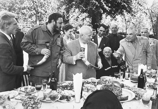 Fidel Castro, Soviet leader Nikita Khrushchev and Soviet Defense Minister Rodion Malinovsky during a visit to Georgian Soviet Socialist Republic in 1963