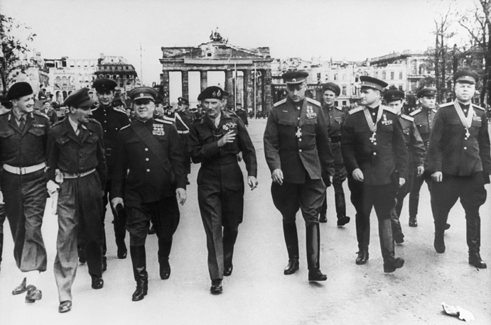 Zhukov's troops captured Berlin in 1945. The historical battle earned him his third title of Hero of the Soviet Union honour. Photo: Soviet Marshals Georgy Zhukov, Konstantin Rokossovsky, Vasily Sokolovsky and British Field Marshal Bernard Law Montgomery walking by the Brandenburg Gate in Berlin, July 12, 1945