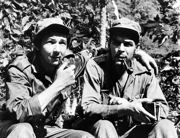 "Another group of rebels, led by Ernesto ""Che"" Guevara, marched toward the capital, Havana. On December 31, 1958, the city of Santa Clara not far from the capital fell to the revolutionary forces. Photo: Raul Castro and Ernesto ""Che"" Guevara, 1958"