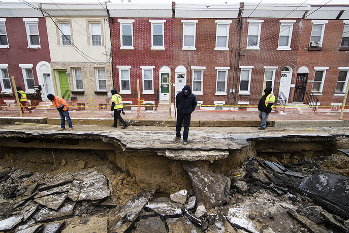 A sinkhole in Philadelphia, USA, January 9