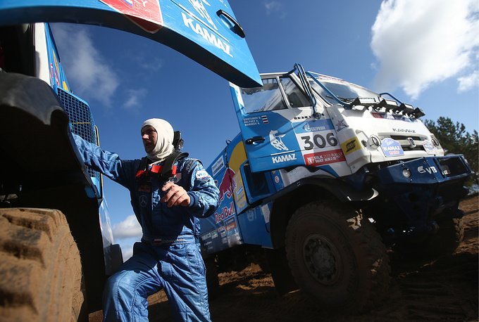 A member of the KAMAZ-master Russian racing team, racing pilot Anton Shibalov, seen at presentation of the team. in Naberezhnye Chelny, 2016