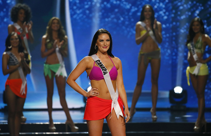 Sierra Bearchell of Canada after making it to the top 9 in the Miss Universe coronation