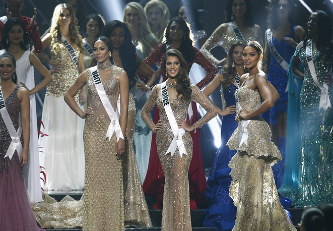 Miss Universe finalists Raquel Pelissier from Haiti, Iris Mittenaere from France and Andrea Tovar from Colombia