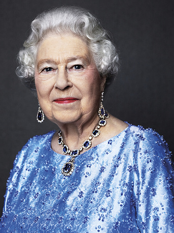Photo of Britain's Queen Elizabeth II, reissued Feb. 6, 2017, by Buckingham Palace to celebrate her Sapphire Anniversary, marking the 65th anniversary of the monarch's accession to the throne. In the photo, the Queen is wearing a suite of sapphire jewellery originally given to her by her father King George VI as a wedding gift in 1947