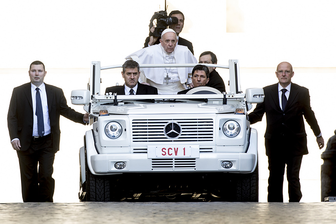 Pope Francis leads his general weekly audience in St. Peter's Square in Vatican City,  March 1
