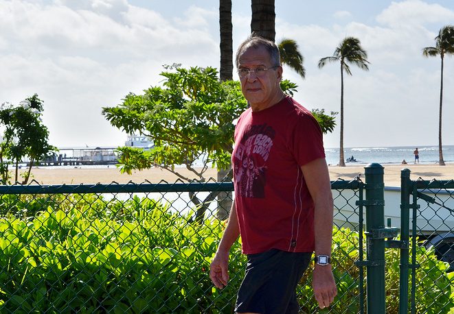 Foreign Minister of Russia Sergey Lavrov walks around the city during the APEC Leaders Summit in Honolulu, Hawaii