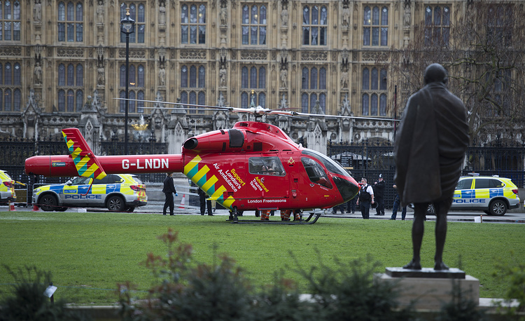 An air ambulance on Parliament Square in central London
