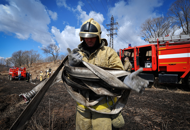 A Russian firefighter participating in wildfire response exercises in Russia's Far East, March 23
