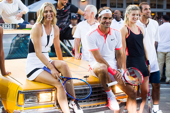 Maria Sharapova and Roger Federer participate in Nike's Street Tennis Pro Event in New York, 2015