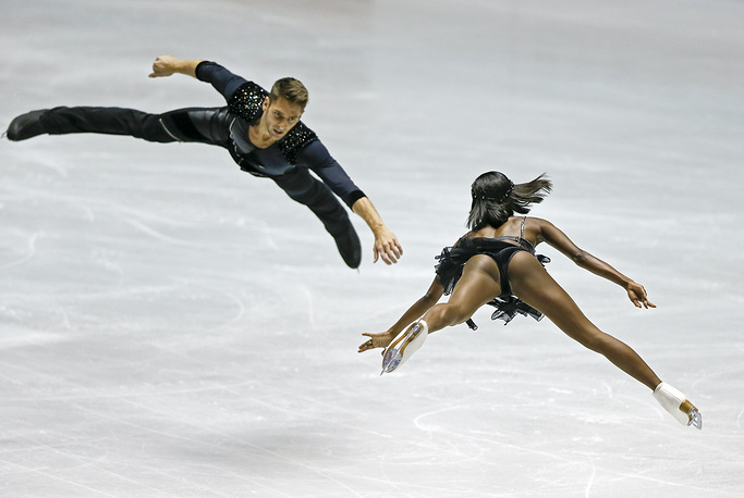 Vanessa James and Morgan Cipres of France perform during the pairs short program at the ISU Figure Skating World Team Trophy in Tokyo, Japan, April 21