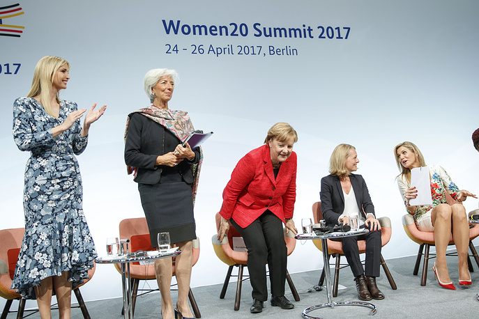 US President Donald Trump's adviser and daughter Ivanka Trump, Managing Director of the International Monetary Fund Christine Lagarde, German Chancellor Angela Merkel, moderator Miriam Meckel and Dutch Queen Maxima take part in a panel discussion 'Inspiring women: Scaling Up Women's Entrepreneurship' at the W20 Summit in Berlin, Germany