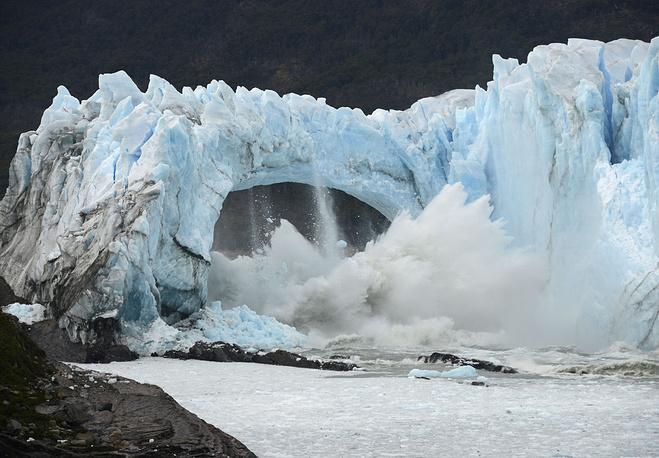 Chunks of ice break off the Perito Moreno Glacier in Lake Argentina