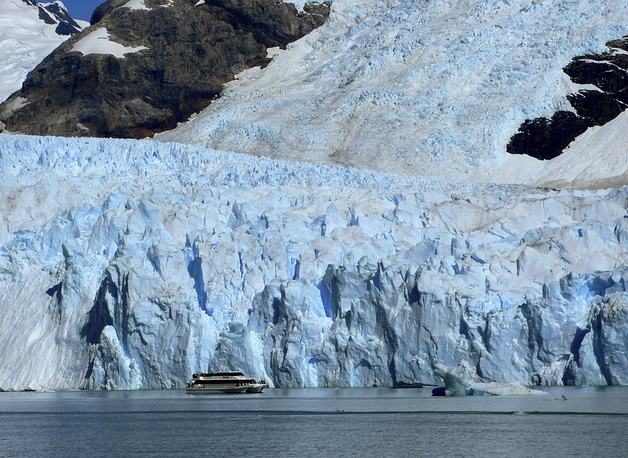 A tour boat passes near the snout of Spegazzini Glacier in Los Glaciares National Park in Argentina