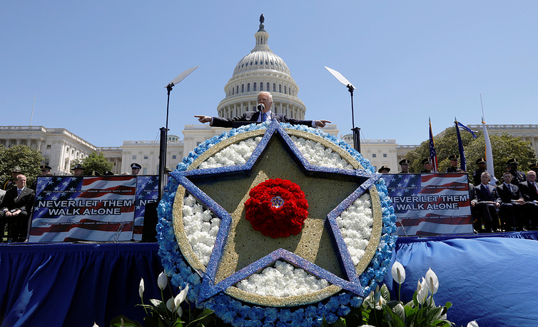 President Donald Trump speaks at the National Peace Officers Memorial Service on the West Lawn of the US.Capitol in Washington, USA, May 15