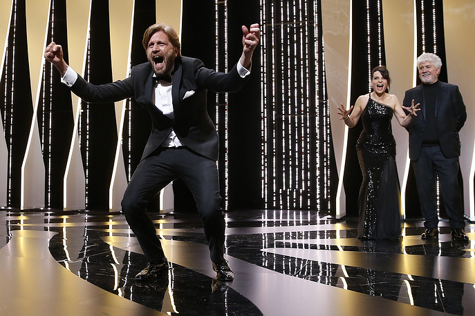 Swedish director Ruben Ostlund reacts after winning the Palme d'Or award for the movie 'The Square' during the Closing Awards Ceremony of the 70th Cannes Film Festival, in Cannes, France, May 28