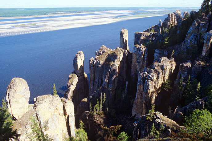 Lena Pillars, a natural rock formation along the banks of the Lena River in far eastern Siberia. The pillars are 150–300 metres high