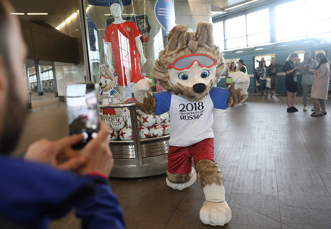Zabivaka the Wolf, the 2018 FIFA World Cup official mascot, at the opening of a football exhibition at Vorobyovy Gory station of the Moscow Metro ahead of the 2017 FIFA Confederations Cup