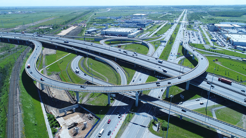 An aerial view of an interchange on the M11 toll motorway linking Moscow to St. Petersburg, Russia, June 14