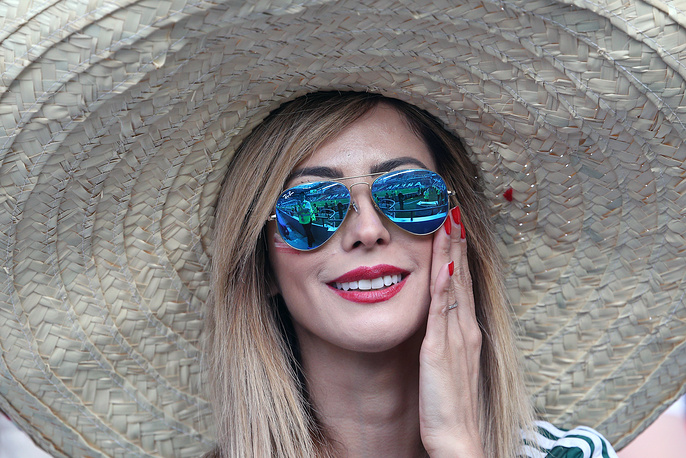 Mexico's fan wearing a sombrero in their 2017 FIFA Confederations Cup Group A football match against Portugal at Kazan Arena Stadium