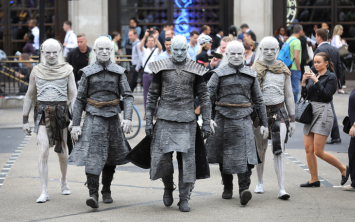 The Night King and White Walkers march through Oxford Circus to promote the forthcoming Game Of Thrones Season 7 in London, UK, July 11