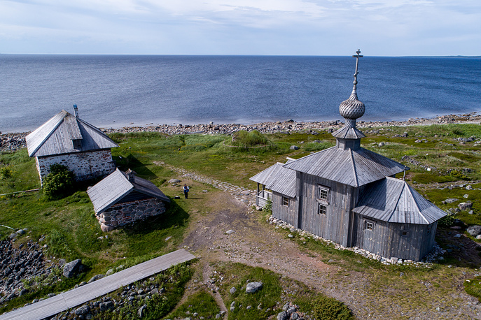 A view of St Andrew Church built in the early 18th century on Bolshoy Zayatsky Island, part of the Solovetsky Islands in the White Sea