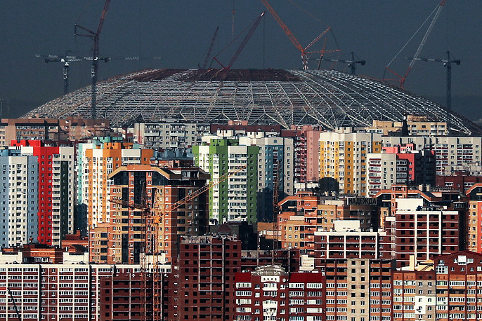 The construction site of Samara Arena Stadium, a venue for 2018 FIFA World Cup matches, Russia, August 23