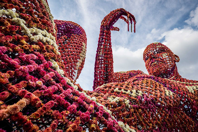 A wagon decorated with flowers at the annual flower corso in Zundert, the Netherlands, September 3