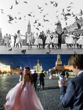 School leavers Moscow's Red Square in 1961 and 
