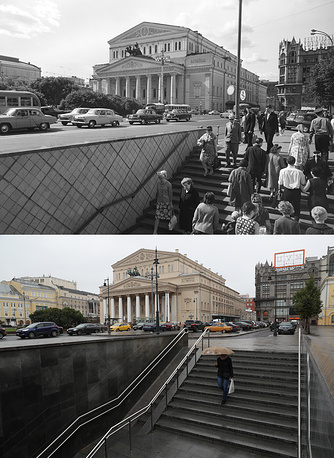 A view of the Bolshoi Theatre in 1967 and in  2017