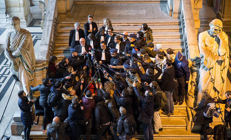 Paul Bekaert, lawyer for sacked former President of the Government of Catalonia Carles Puigdemont, gives a press conference at the end of the second hearing at a Belgian court, in Brussels, Belgium, December 4