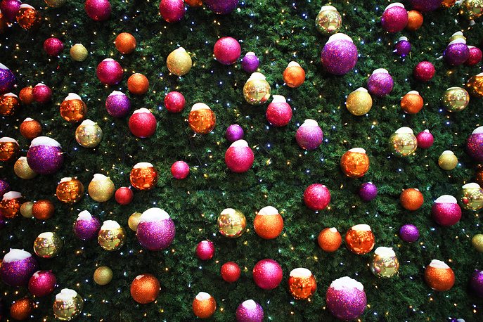 Baubles on a Christmas tree in central Moscow