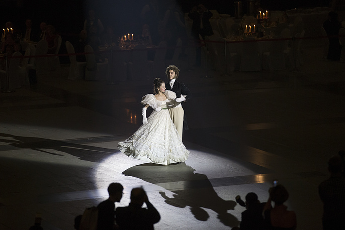 Military school students dance during their annual ball in Moscow, Russia, December 12
