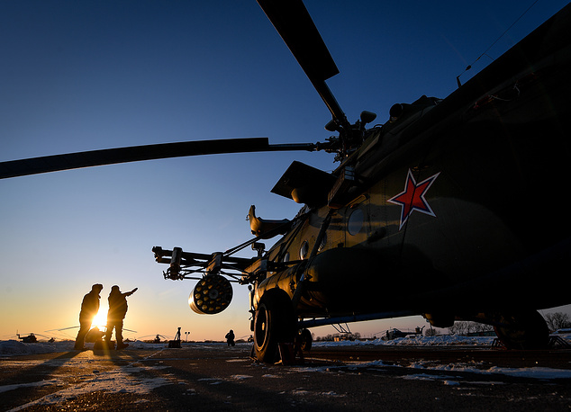 A new Mil Mi-8AMTSh-V multi-purpose helicopter at the Chernigovka air base, Russia, December 20