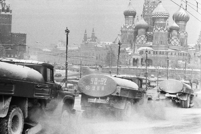 Snow plows clearing streets in central Moscow, 1976