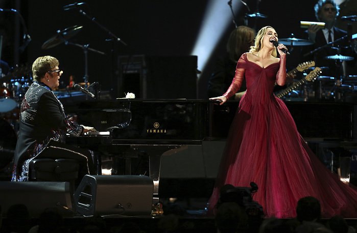 "Elton John and Miley Cyrus perform ""Tiny Dancer"" at the 60th annual Grammy Awards at Madison Square Garden  in New York, USA, January 28"