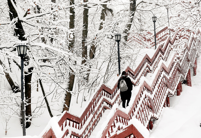 A woman goes up a stairway among trees covered by a thick layer of snow after a long snowfall in Kolomenskoye park in Moscow, Russia, January 31