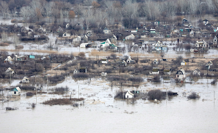 A helicopter view of the village of Ilovlya affected by spring floods, Russia, April 4