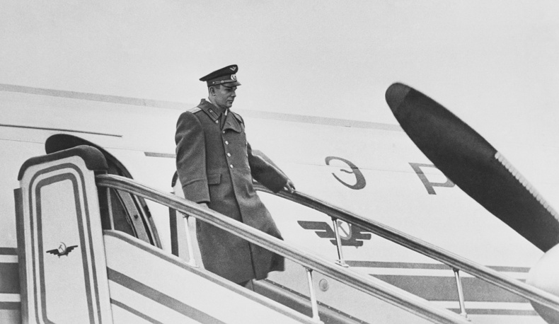 First cosmonaut Yuri Gagarin officially welcomed in Vnukovo airport, 1961