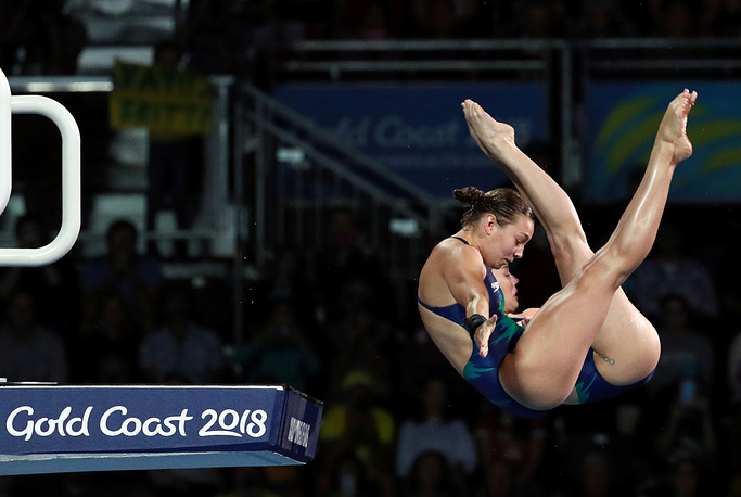 Annarose Keating and Brittany O'Brien of Australia perform during Women's Synchronized 10m Platform Final at Gold Coast 2018 Commonwealth Games in Optus Aquatic Centre, Gold Coast, Australia, April 11