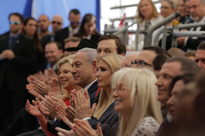 Israel's Prime Minister Benjamin Netanyahu, his wife Sara Netanyahu, Senior White House Advisor Jared Kushner, US President's daughter Ivanka Trump, US Treasury Secretary Steve Mnuchin