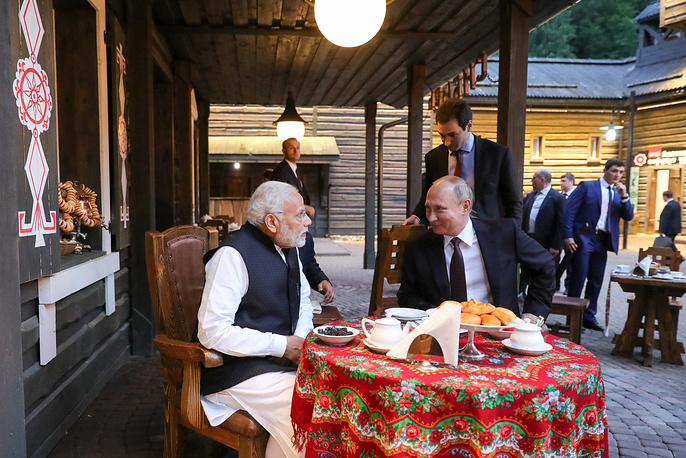 India's Prime Minister Narendra Modi and Russia's President Vladimir Putin visit the My Russia Cultural and Ethnographic Center, Sochi, May 21
